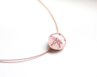 Sand dollar necklace, beach jewelry, pink sand dollar pendant, bridesmaid necklace, beach wedding