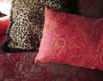 Orange and Crimson Paisley linen pillow cover hand block printed rust decorative colorful home decor