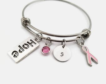 Breast cancer bangle - breast cancer awareness jewelry - Personalized bangle - Pink ribbon bracelet - ribbon hope charm bracelet