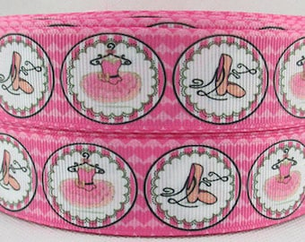 "Ballet Grosgrain 1"" Printed Ribbon, Ballerina Ribbon"