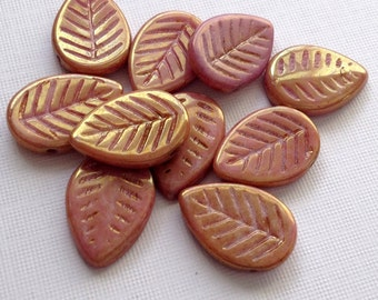 Czech leaves, Pink Leave Beads- Czech glass beads - glass leaf beads pink coral  with gold metallic finish pack of 8