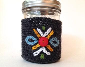 Crochet Mason Jar Cozy -- Swedish Folk Inspired Design