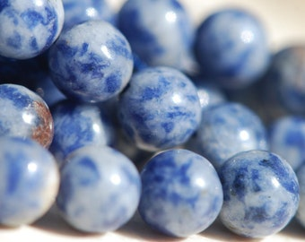 One Strand Natural 8mm Round Royal Blue and White Sodalite Beads,16 inches, BD0380