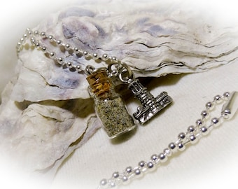 Sand in a Bottle Light House Silver Charm Necklace