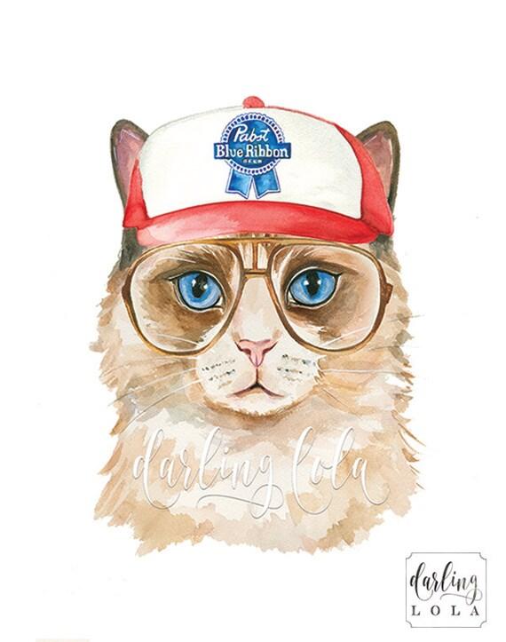 Cat Illustration Tumblr Cat Watercolor Print H...