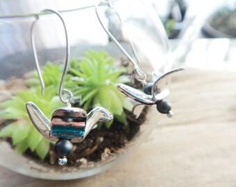 Paper Crane Hematite Earrings, Silver Crane Bird Jewelry, Origami Style Jewelry Aluminum Earwires