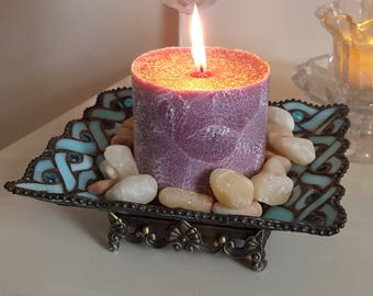 Feathered palm wax pillar candle