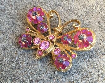 Pink Rhinestone Butterfly Brooch