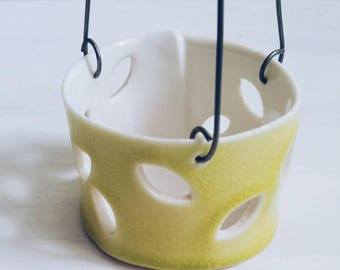 Sweet porcelain lantern.  Tea light holder, candle holder.  Hanging candle holder.  Contemorary home decor.  Chartreuse and white decor.
