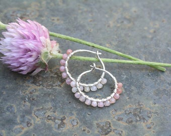 Sterling Silver Hoops, Pink Opal Hoops, 1/2 inch Hoops, Very Small Hoops, Pink Hoops, Wire Wrapped Hoops, Lightweight Earrings, Stone Hoops