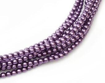 2mm Deep Violet Czech Round Glass Pearls Beads 50 pcs