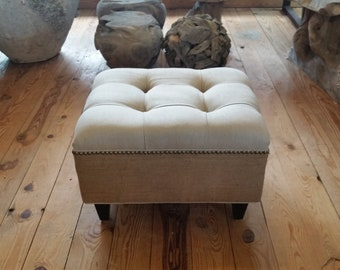 Linen and Burlap Tufted Upholstered Ottoman with Nail Head- Design 59 Furniture