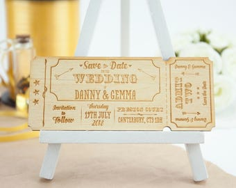 Personalised Wooden Wedding Ticket 'Save the Date'
