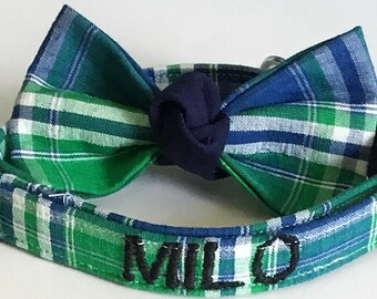 Green and Blue Plaid Bow tie Collar  and Includes Personalization Option