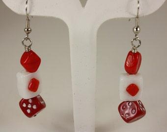 Red/white dice, red diamond shaped bead, white rectangle w/ red diamond shape insert - fishhooks earrings  E 112