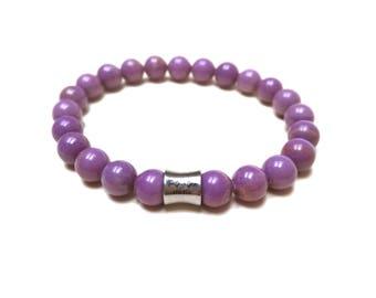 Phosphosiderite Bracelet, Purple Phosphosiderite, Orchid Stone, Mens Bracelet, Womens Bracelet, Purple Bracelet, Natural Gemstone, Yoga