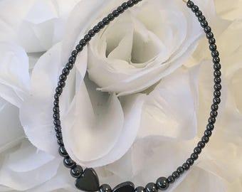 Hematite Heart Bracelet/Ankle Bracelet, Sterling Silver, 14k Yellow Gold Filled or 14k Rose Gold Filled (2206) + Plus Sizes