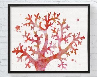 Coral Art Print, Watercolor Coral, Coral Painting, Coral Reef Art, Sea Life, Underwater, Nautical Home Decor, Coastal Wall Decor, Beach Art