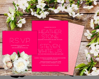 Invitation Suite - Hot Pink - Qty 25