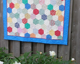 Lap Quilt, 1930's Reproduction Fabric, Mini Quilt, Picnic Quilt, Crib Quilt, Baby Quilt