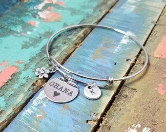 Ohana Bangle, Ohana Bracelet, Ohana means family, Ohana jewelry, Family Bracelet,  Lilo & Stitch Jewelry, Bff Gift, Hawaiian Bracelet