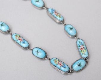 Antique Russian Porcelain Necklace . Double Sided Flower Porcelain . Link Necklace