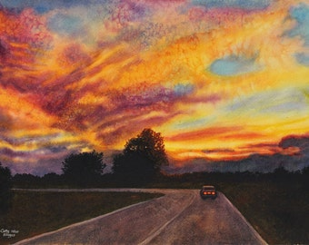 Sunset, art watercolor painting print by Cathy Hillegas, Riding Off Into The Sunset, 12x16, yellow, orange, red, pink, blue, green
