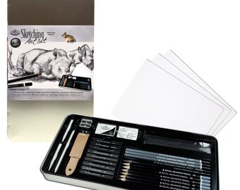 Sketching Art Set; Large Tin Drawing Pencil Art Gift Set; Royal and Langnickel