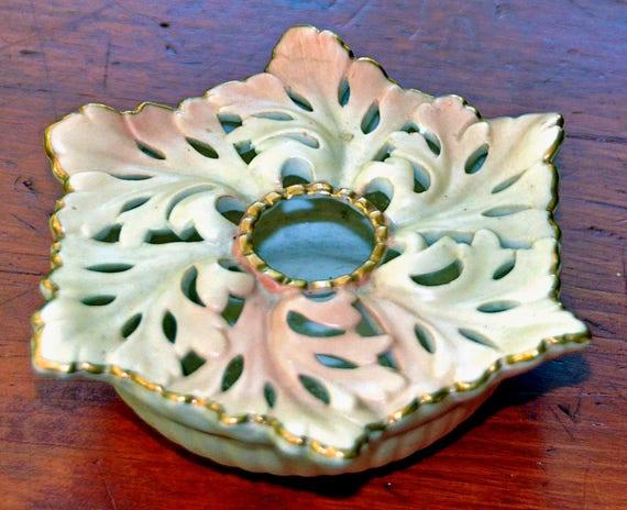 "Reduced: Antique C 1898 – 1903 ""LOCKE & Co. WORCESTER"" Pierced Blush Ivory Pot Pourri Posy Holder Shape #9 Exc Condition"
