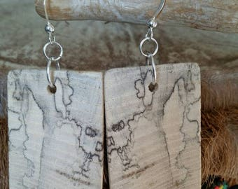 Spalted wood Earwires Sterling Silver