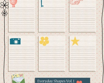 Everyday Shapes Vol.1  3x4 Digital Journaling Cards