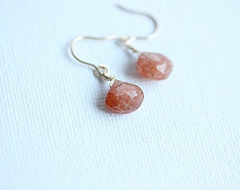 Sunstone Earrings - Gold Sunstone Earrings - Small gold sunstone earrings in gold fill - Orange earrings - Peaches earrings
