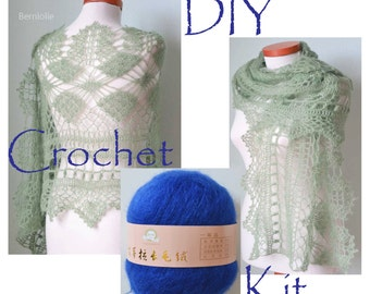 DIY Crochet Kit, Crochet shawl kit, MISITU, SAPPHIRE blue, yarn and pattern