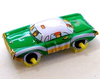 Green Machine, Tin toy car, 1960s Japan. Vintage fun.