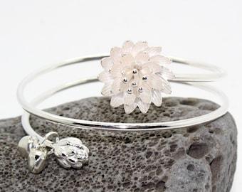 Silver Bracelet, Lotus Flower and Bell Sterling Silver Enlightenment Bracelet  - Bracelet, Sterling Silver Ring, Gratitude, Enlightenment