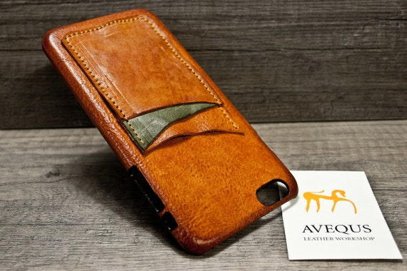 """NEW iPhone 8 or 7 Plus 5.5"""" leather 3 slots credit card case choose BODY and ACCENT colours"""