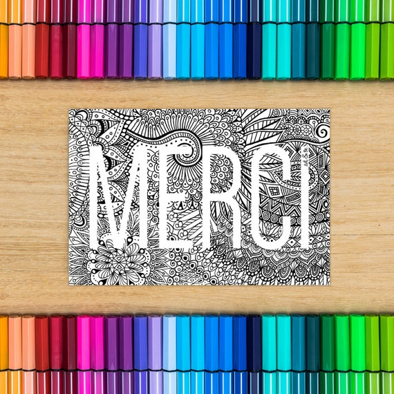 Postcard coloring - thank...