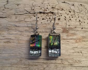 Jewelry,glass,Dichroic glass jewelry, fused glass earrings, handmade dichroic glass, dichroic glass earrings, Dichroic Glass Dangle earrings