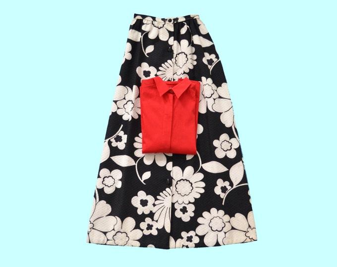 1970s  Flower Power Black & White Maxi Skirt