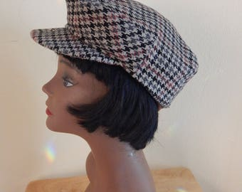 houndstooth hat newsboy, pageboy, wool hat, 22""
