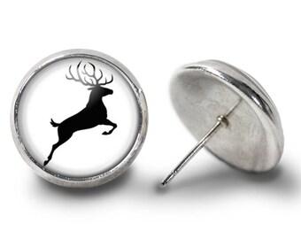 Buck Earrings - Prancing Buck Earrings - Deer Earrings - Buck Jewlery for Her (Pair) Lifetime Guarantee (E0226)