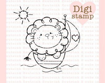Sail Away Lion Digital Stamp - Digital Lion Stamps - Lion Stamp - Baby Stamp - Lion Art - LionCard Supply - Baby Craft Supply