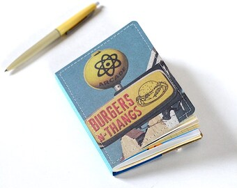 Upcycled Mini Journal- Burgers N Thangs Edition, Hamburger Journal, Burger Notebook, Ready to Ship