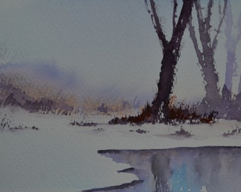 Winter Reflection III, an original watercolour painting by Alfredo Mella