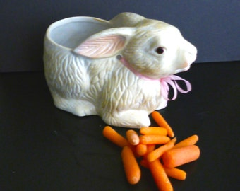 Vintage Ceramic Rabbit Bunny Easter Planter Candy Server 1960s