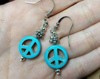 Flower and Peace Earrings