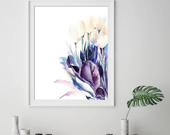 White Tulips and Purple Leaves Fine Art Print, Flowers Modern Watercolor Painting Art, Botanical Wall Art Print, Giclee print of Tulips