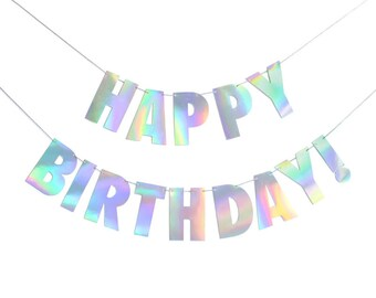 Holographic Foil Stamped Happy Birthday! Paper Banner