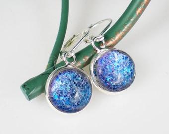 Handmade Glass Earrings Aqua Lavender Holo Glitter Nail Polish Earrings Nail Polish Jewelry