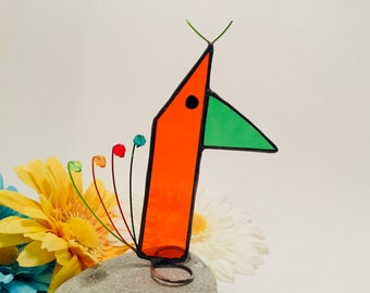 Orange Stained Glass Bird - Scrappier Scrappy Bird - Guaranteed one of a kind